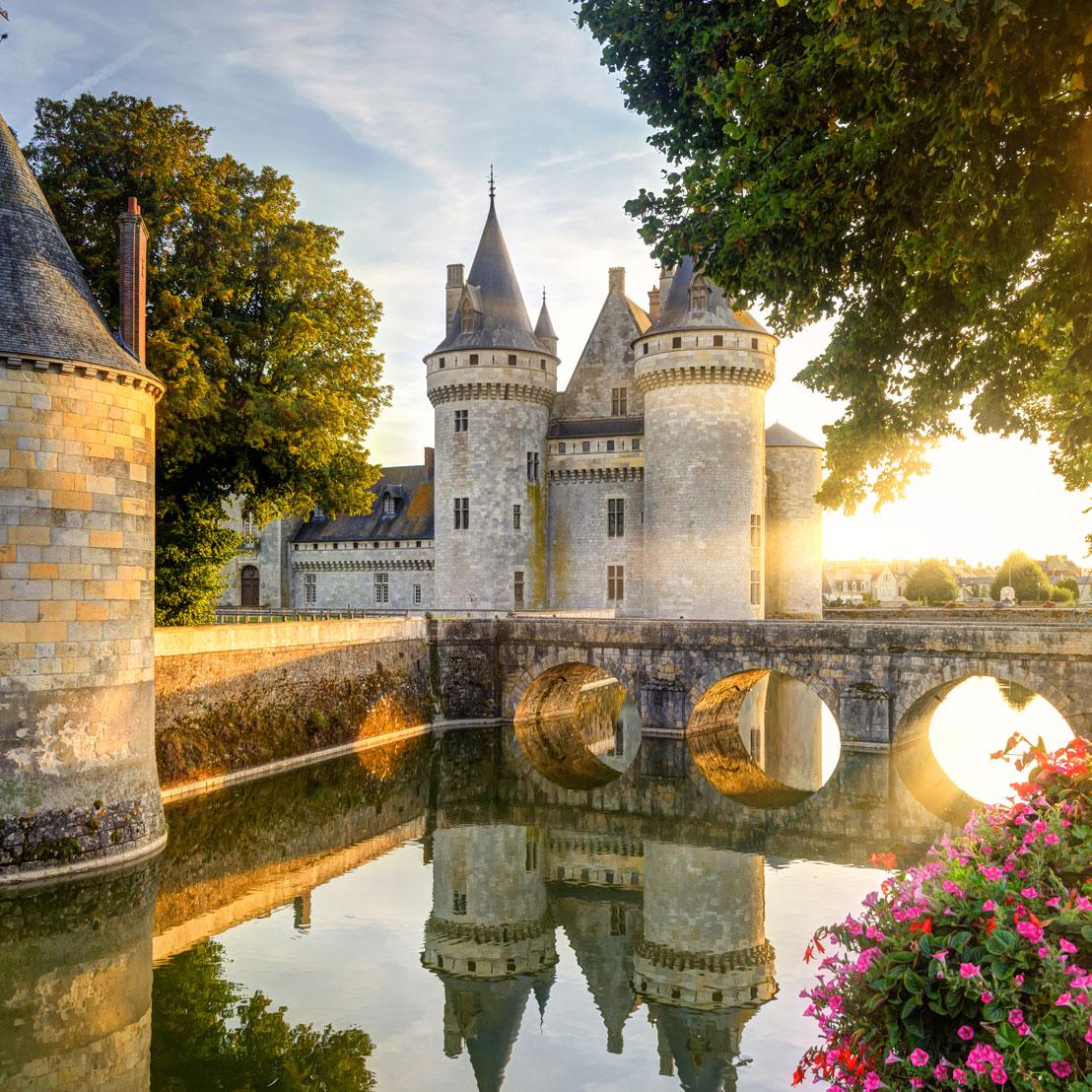 Chateau de Sully-sur-Loire in the sunset light, France